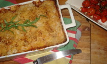 Potato and Bacon Bake topped with Parmesan Mash