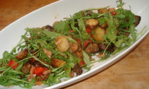 Warm New Potato and Aubergine Salad with Sweet Chilli and Bacon Dressing