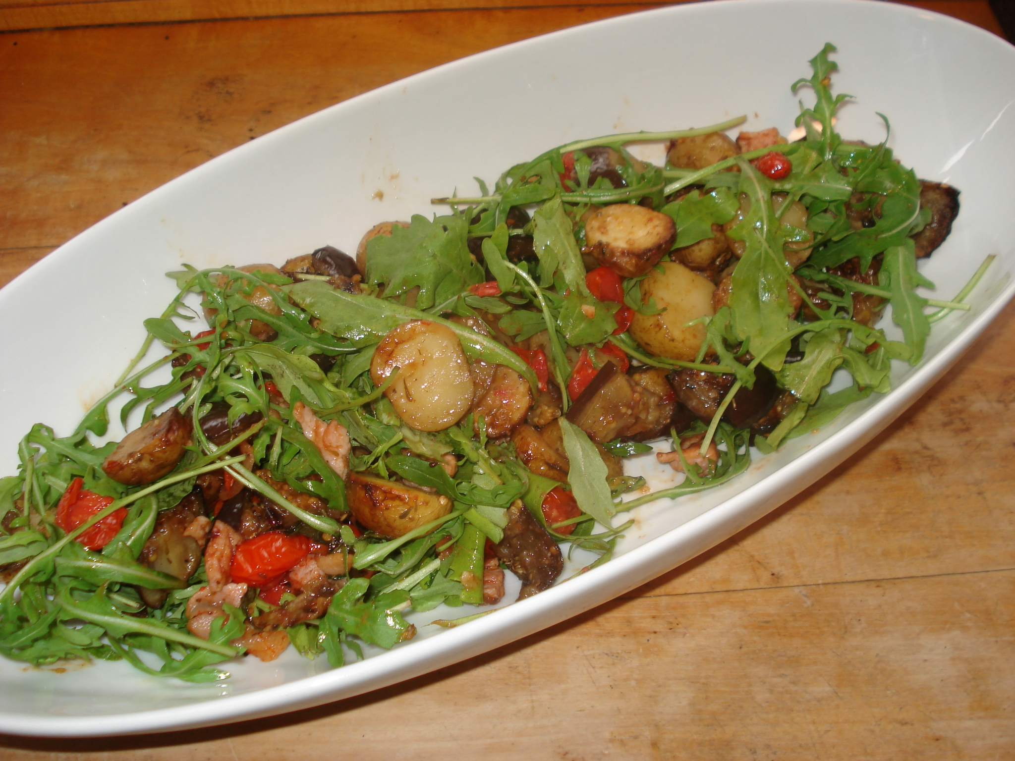 Hot Potato Blogger Challenge Recipe: Warm New Potato and Aubergine Salad with Sweet Chilli and Bacon