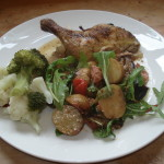 Warm New Potato and Aubergine Salad with Sweet Chilli and Bacon Dressing1